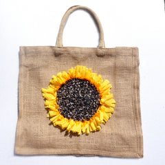 hessian / burlap shopping bag carrier with a handmade rag rug yellow and brown sunflower