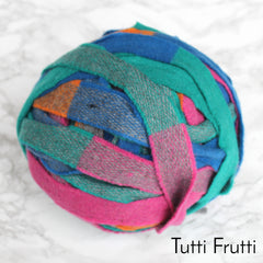 Ragged Life Rag Rug Blanket Yarn 100% Wool for Rag Rugging Crochet in Strips in Pink, green, blue and orange striped