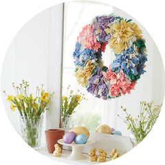 Hemmed Rag Rug Wreath Hessian & Instructions