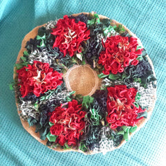 Unassembled Rag Rug Christmas Wreath on Hessian Made using a rag rug spring tool