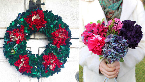 Rag rug wreath and bouquet making workshop with Ragged Life in Hertfordshire, Surrey, London, Yorkshire, Wiltshire and Brighton