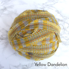 Ragged Life Rag Rug Blanket Yarn 100% Wool for Rag Rugging Crochet in Strips in Yellow Dandelion Bright Striped