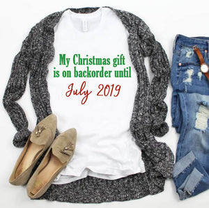 On Backorder Christmas Pregnancy Announcement Shirt - In The Limelight
