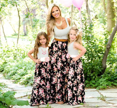Mommy and Me Striped Top Floral Maxi Dress - In The Limelight