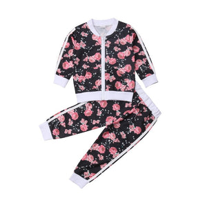 Black and Pink Floral Jogger Set - In The Limelight