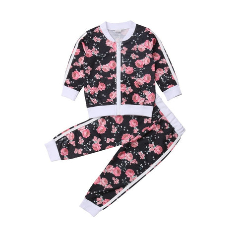 Black and Pink Floral Jogger Set