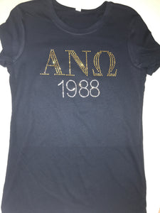 Rhinestone Greek Letter With Year Tee - In The Limelight
