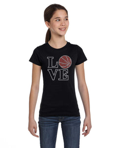 Love Basketball Rhinestone Tee