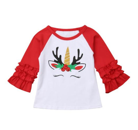 Christmas Unicorn Reindeer Ruffle Shirt - In The Limelight