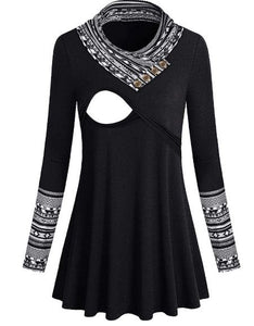 Black and White Aztec Nursing Top