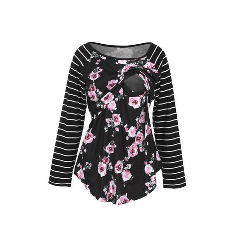 Floral Shirt With Striped Sleeves Nursing Shirt - In The Limelight