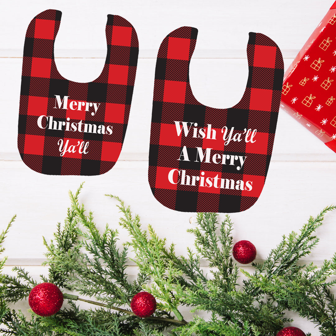 Buffalo Plaid Christmas Bib Set - In The Limelight