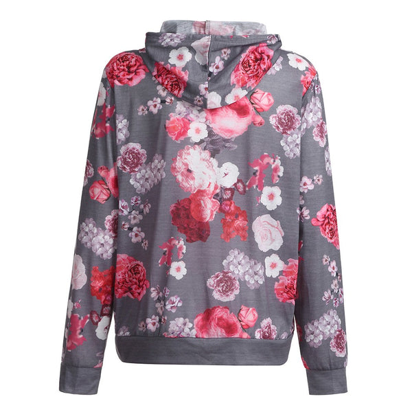 Gray Floral Nursing Top With Hood - In The Limelight