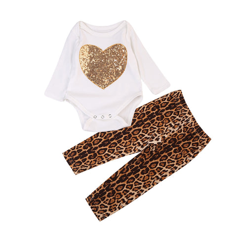 Gold Sequin Heart and Leopard Pant Set