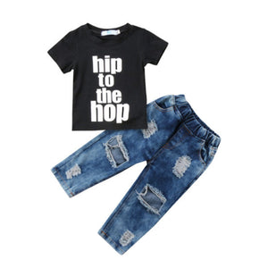 Hip To The Hop Distressed Jeans Set - In The Limelight