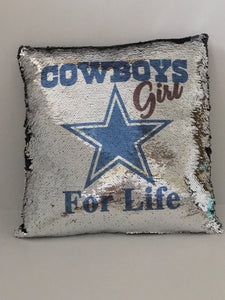 Cowboys Girl Flip Sequins Pillow - In The Limelight