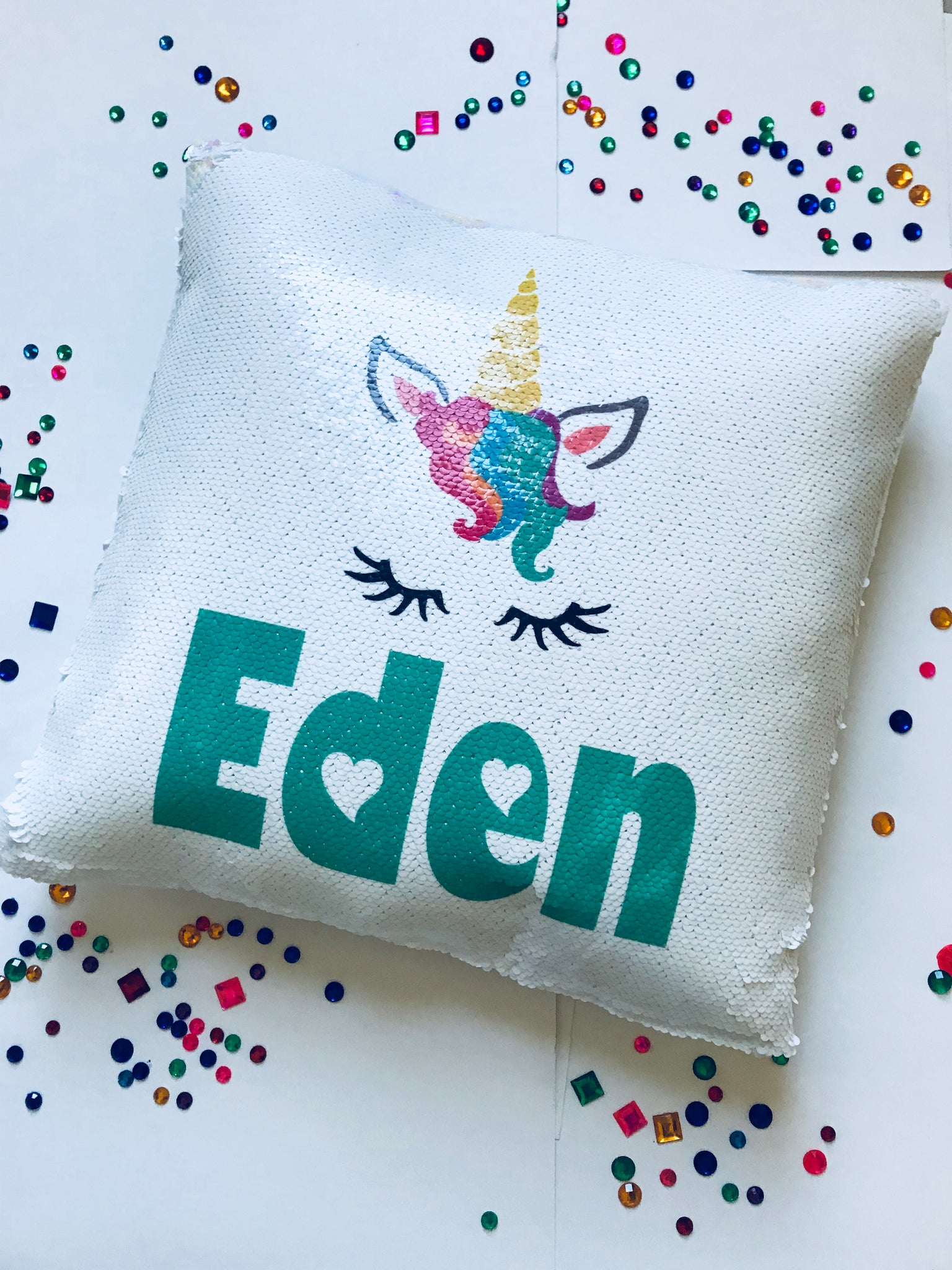 Customized Unicorn Flip Sequin Pillow - In The Limelight