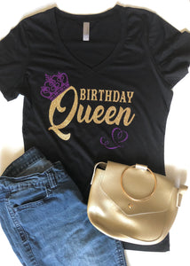 Birthday Queen Glitter Tee - In The Limelight