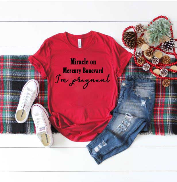 Miracle On Your Street Christmas Pregnancy Announcement Shirt - In The Limelight