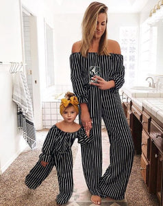 Mommy and Me Black Striped Jumpsuit - In The Limelight