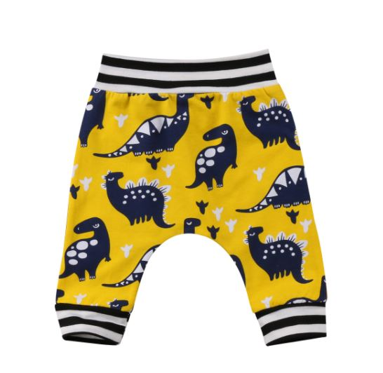 Yellow & Blue Dinosaur Pant - In The Limelight