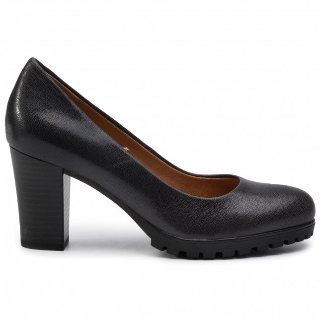Caprice Black Leather Block Heel Wedge Court Shoe