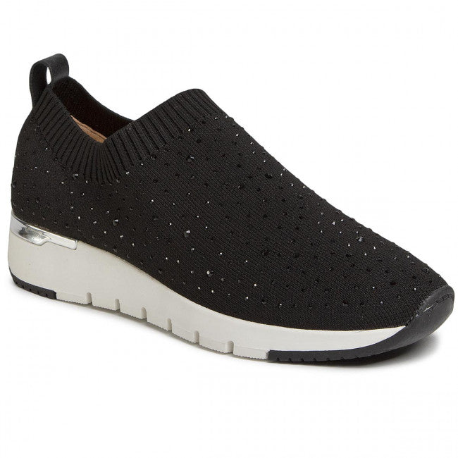 Caprice Black sparkle knit pull on trainer.