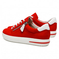 Caprice Red suede sporty Lace up side zip wedge trainer