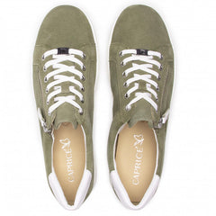 Caprice cactus green suede sporty Lace up side zip wedge trainer
