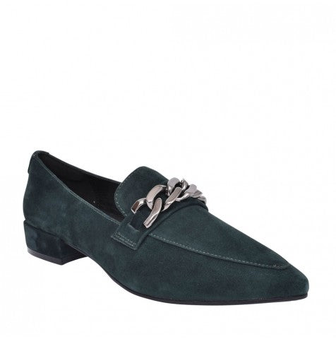 Moda in Pelle Fliss Green Suede Leather Loafer