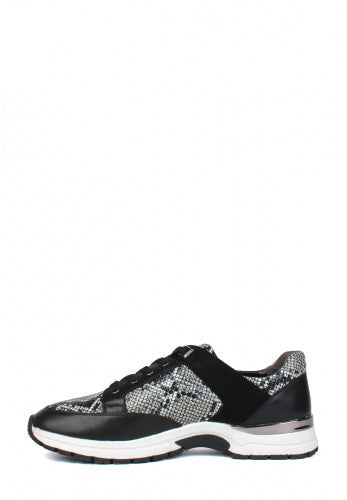 Caprice Black Snake Print lace up Leather trainer