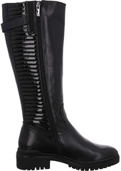 Caprice Long Black Patent Leather Biker Style Boot