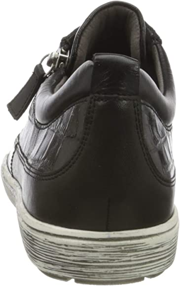 Caprice Black Croc Textured soft leather lace up Trainer with zip