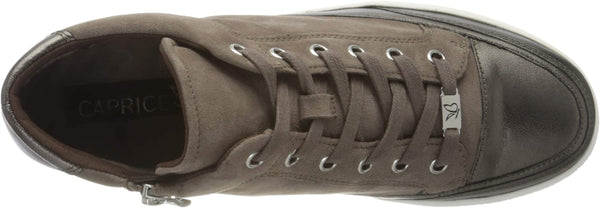 Caprice Stone Metallic Suede Zip/Lace trainer