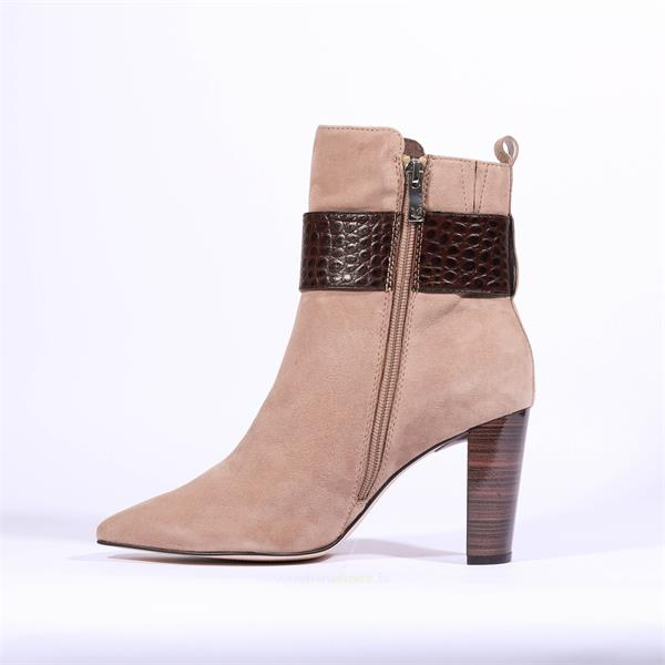Caprice Taupe/Brown Suede Ankle Boot With Croc Buckle.
