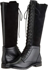 Caprice Black leather lace up long boot