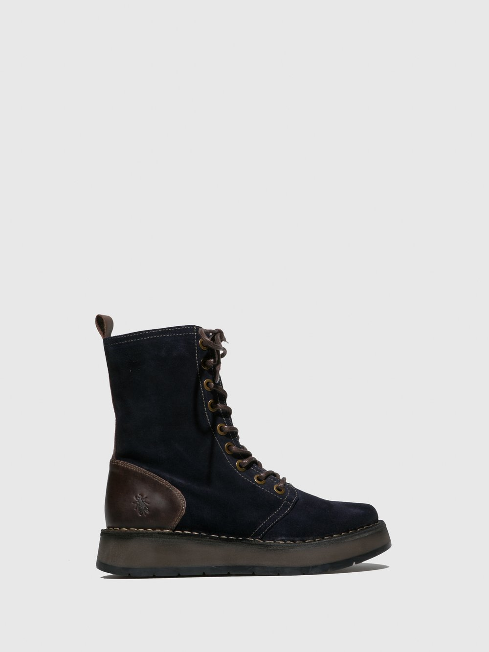 Fly London Rami Lace-up Zip Boot in Navy/Dark brown Suede.
