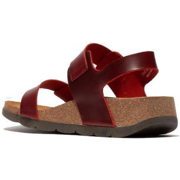 Fly London Bridle Red Buckle Wedge sandal.