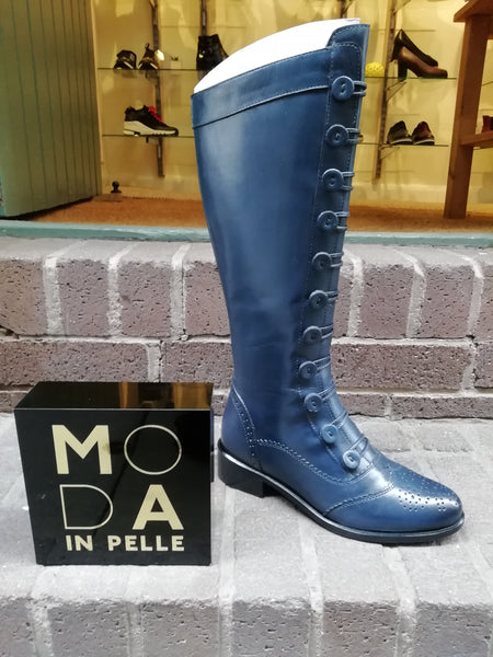 Moda in Pelle Sidnee Button Front blue boot with side zip.
