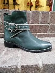 Moda In Pelle Bristina Green Leather Buckle Ankle boot