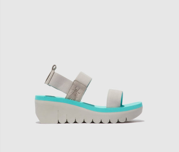 Fly London Cupido Mynt Wedge sandal.