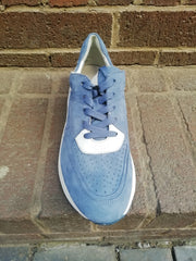 Caprice Blue and white suede leather wedge trainer.