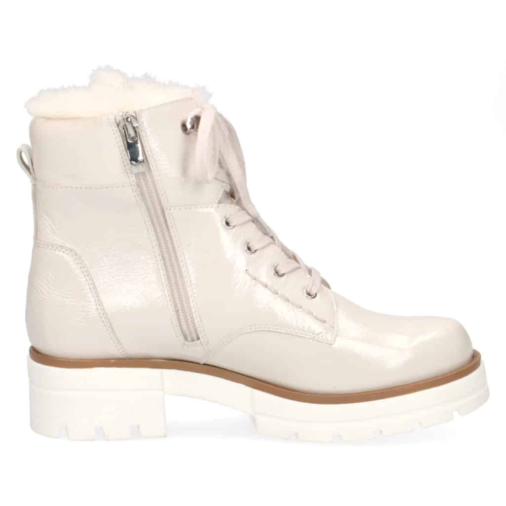 Caprice Snow patent lace front boot with side zip.