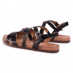 Caprice Black Crossover Nappa Leather Sandal
