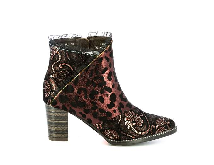 Laura Vita Igcuao Rouge Red Leopard Print Heeled Ankle Boot