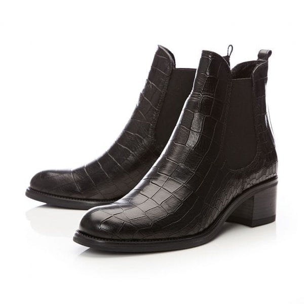Moda In Pelle Colline Black Croc Ankle boot
