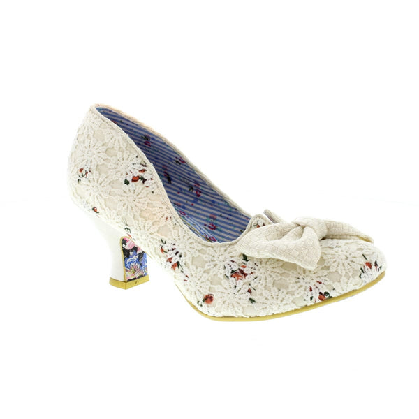 Irregular Choice Dazzles 2nd Razzle Cream Floral Mid Heel Shoe