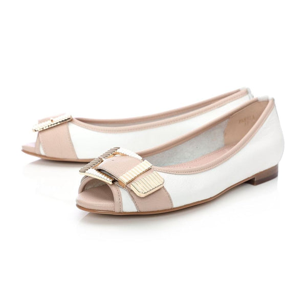 Moda in Pelle Freyla white/nude leather flat