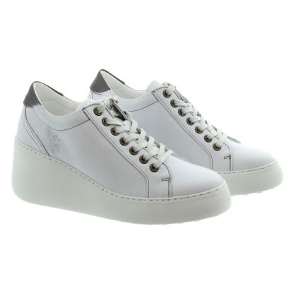 Fly London Dile Brito White wedge trainer.