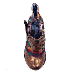 Irregular Choice Miaow Gold Metallic Mid Heel Boot